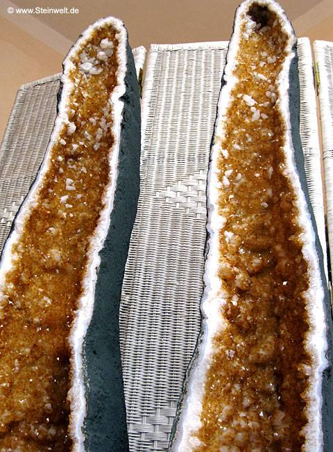 citrine geode cathedral pair